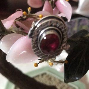 Vintage 925 rubellite poison ring